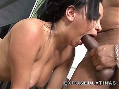 Busty Latina Cellyne Salles is fucked hard over the couch